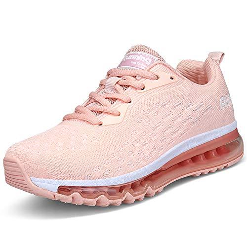 IceUnicorn Damen Laufschuhe Rutschfeste Atmungsaktiv Gym Sportschuhe Schnürer Outdoor Turnschuhe Joggen Schuhe Freizeit Sneaker(Pink-2,39EU)