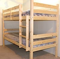 SHORT BUNKBED WOODEN 3FT TWIN BUNK BED - includes 2x 15cm thick SPRUNG MATTRESS
