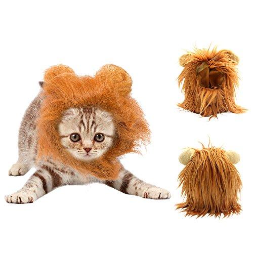 Löwe Mähne Perücke für Katzen Haustier Kostüm Löwe Haar Kopfbedeckung mit Ohren Weihnachten Halloween Ostern Festival Perücke Cosplay Kostüm (braun) (Ostern-kostüm Für Erwachsene)