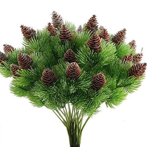 Nahuaa 4 Stück Künstliche Kiefer Pflanzen Zweige mit Künstlichen Kiefer Kegel Kunststoff Sträucher Faux Grün Büsche Bundles Draußen Tabelle Blumenarrangements Zuhause Küche Sprungfeder Deko