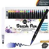 Brush Pen Set Pinselstifte - [20+1 Stück] für wunderschöne Aquarell / Watercolor, bullet journal und Hand-Lettering / Kalligraphie Zeichnungen - langlebige Stifte mit weicher Echtpinsel-Spitze für hinreißende Ergebnisse
