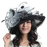 June's Young Damen-Hüte Organzahut Sommer Hut Sonnenhut eleganter Hut mit Stein Schmuck Schleife Ring