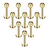 Briana Williams 10stk Chirurgenstahl Lippenpiercing Stecker mit Kugel Ohr Tragus Labret Helix Piercing Schmuck 6mm,8mm,10mm,12mm Stab