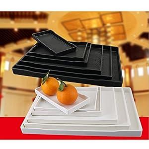 FutuHome Melamin Servierplatte rutschfest Serviertablett Rechteckig Küchentablett - Weiß, B 22,2 × 16 cm