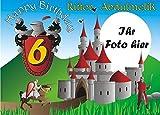 Tortenauflage Ritter mit Foto, Namen u. Alter, Rechteck, Ritterburg Tortendeko