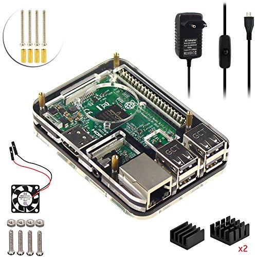 For Raspberry Pi 3 model b Kit ,5V 3A Netzteil Ladegerät Adapter , Gehäuse Kühlkörper Lüfter (Schwarz) (Machen Sie Es Starter Kit)