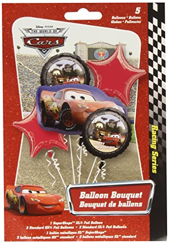 Image of Amscan Cars Lightning McQueen Birthday Bouquet Foil Balloons