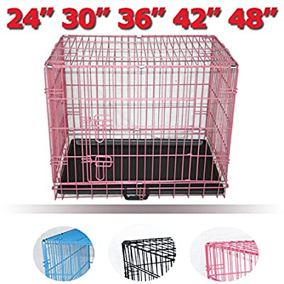 Greenbay Dog Puppy Cage Pet Crate Training Travel Carrier 2 Doors Metal Folding