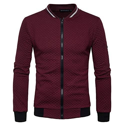 Tefamore Hommes Manche Longue Veste en Plaid Blouson à glissière Tops Veste Manteau Outwear (L, Vent Rouge)