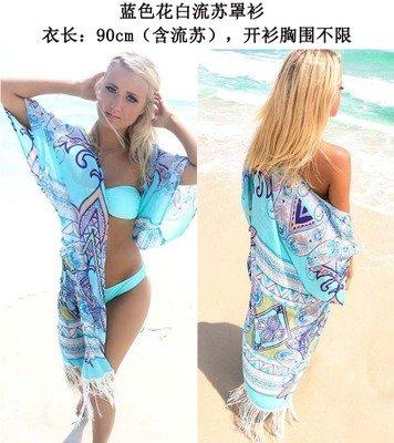 2016 chiffon - positionierung print - Strand der neuen Europäischen und Amerikanischen kleidung sonnencreme größe Lange strickjacke bikini - Mädchen außenhaut Die Grüne Blume quasten strickjacke