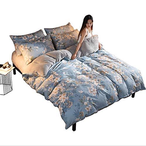 Bettwäsche 4-teilig Set von, Flanell-Blatt-Set aus Baumwolle Mit Reißverschluss Super Weiche Atmungsaktive Bettlaken*1 Cover*1 Kopfkissenbezug*2,S -