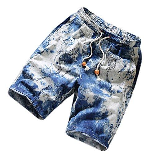 Honghu Herren Loose Lässige Strand Shorts Blau