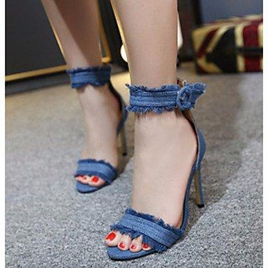 SANMULYH Scarpe Donna Denim Primavera Estate Della Pompa Base Sandali Stiletto Heel Punta Aperta Per Luce Casual Blu Scuro Nero Blu Blu chiaro