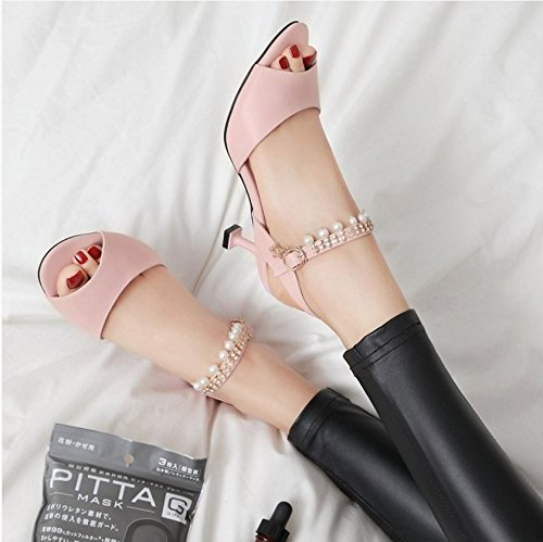 Lgk & fa estate 2017sandali da donna estate sandali bambina con dolce perline con un bel pesce bocca scarpe scarpe con tacchi Cat code Word Pink (6.5cm with height)