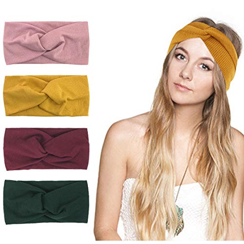 d0c734fff692bf KQueenStar Damen Gestrickt Stirnband - 4Stück Häkelarbeit Schleife Headwrap  Design Stirnband Winter Kopfband Haarband Headwrap Ohr Wärmer (Colorful B)