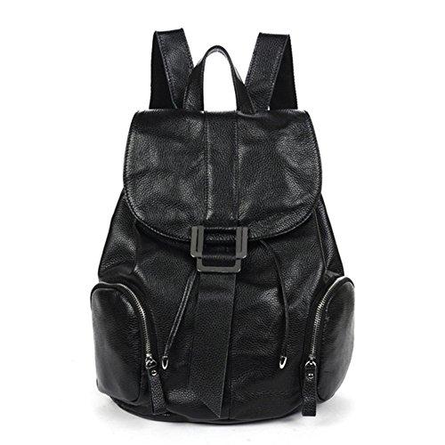 DRF Sac à Dos en Cuir Femme Style Vintage pour Ecole A4 #BG-123 (marron) noir