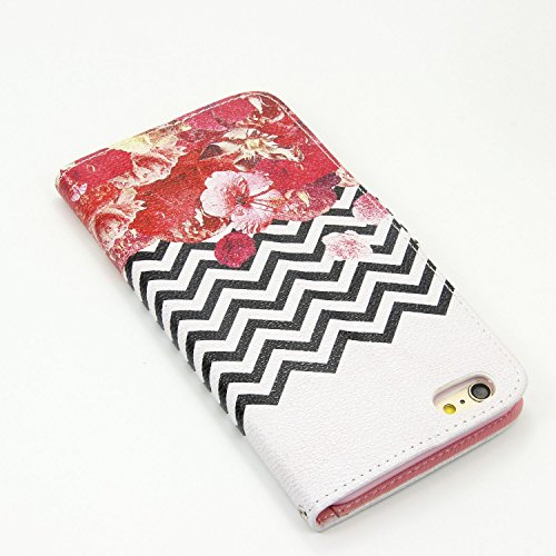 Schutzhülle für Apple iPhone 6S Plus (2015)/iPhone 6 Plus (2014) 5.5 Zoll case Wallet PU Leder Schale Tasche Magnet Hülle Handy Silikon Inner Cover Etui Skin Shell Purse Portemonnaie Geldbörse Mappen  wave Blumen