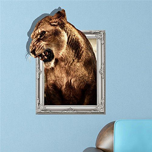 Bluelover 3D Lion Wand Aufkleber Tier Pag Aufkleber Abnehmbare Wand Loch Aufkleber Home Tiger Dekor...