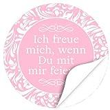 48 Design Etiketten, rund / Ich freue mich, wenn Du mit mir feierst / rosa / Hochzeit / Taufe / Geburtstag / Konfirmation / Aufkleber / Sticker / Einladung