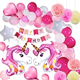 Yansion Unicorno Festa Decorazione Palloncini Supplies,39 Pezzi Decorazione Unicorno Festa di Compleanno con 1 Banner,2 Huge Unicorno Palloncini,30 Palloncini,6 Fiori di Carta per Bambini