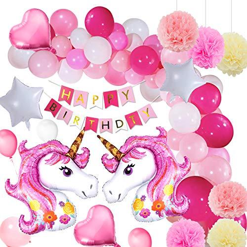 Yansion Unicornio Fiesta Decoración Unicornio cumpleaños Supplies,39 Piezas cumpleaños con 1 Banner,2...