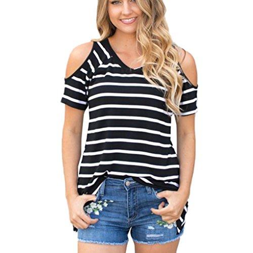 Vovotrade® Frauen-Blume weg vom Schulter-T-Shirt Streifen-Kurzschluss-Hülsen-beiläufige Bluse Schwarz