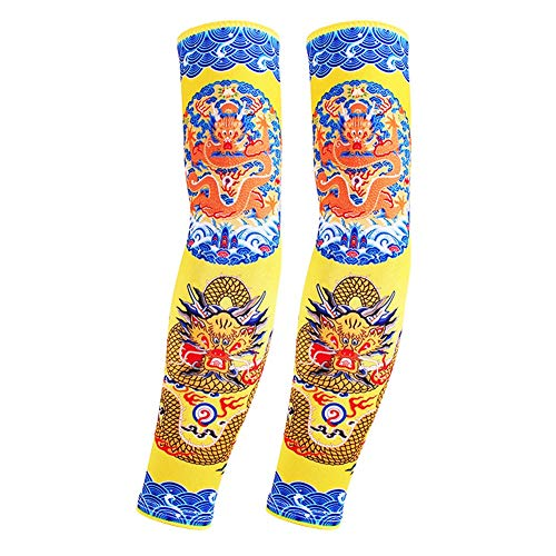 toos Mode Männer und Frauen UV-Schutz Nylon gefälschte temporäre Tattoo Ärmel Arm Strümpfe Halloween Tattoo, Laufen Radfahren Klettern (Color : B) ()