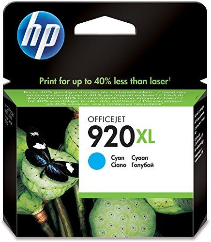 920 Cyan Officejet Ink (HP 920XL Blau Original Druckerpatrone mit hoher Reichweite für HP Officejet 7500A, 7000, 6000, 6500, 6500, 6500A, 6500A)