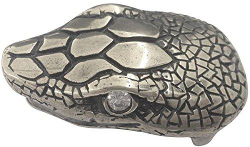 Brazil Lederwaren Gürtelschnalle Schlangenkopf 4,0 cm | Buckle Wechselschließe Gürtelschließe 40mm Massiv | Mit hochwertigem Strass besetzt | Schmuckschließe -