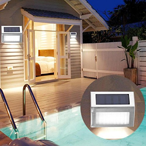 stahl Im Freien Wasserdichte Solarleuchten Garten Pathway Treppen Lampe LED-Leuchten Solar Panel Wandleuchte Treppenbeleuchtung ()