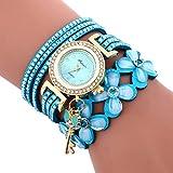 Sonnena Damen Armbanduhren, Mode Glockenspiel Diamant Armbanduhr Damenuhr Klassik Lederarmband Quarzuhr Armband Handgelenk Uhr Geburtstag Geschenk (Hellblau)