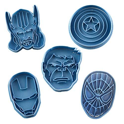 Cuticuter Superhelden Marvel Pack Ausstechform, Blau, 16x 14x 1.5cm, 5Stück