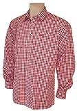 S-6XL 37-54cm Trachtenhemd Karo-Hemd Trachten-Pfoadl Karohemd rot kariert Tracht, Größe:43/44 = XL