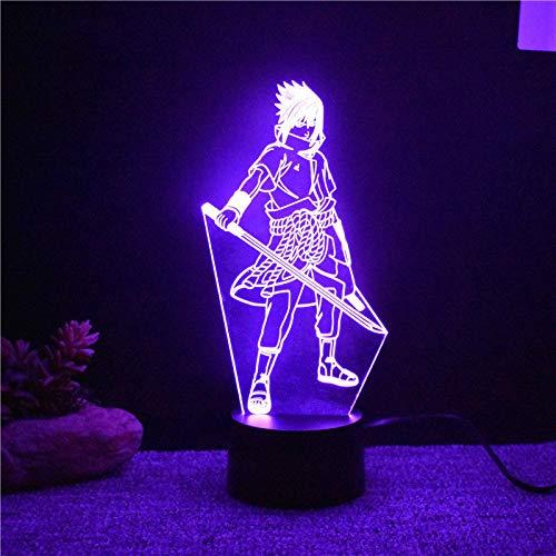 WangZJ Optische Täuschung 3d Lampe / 7 Farbwechsel / 3d Led Nachtlicht/tischlampe Atmosphäre Dekoration/Uchiha Sasuke