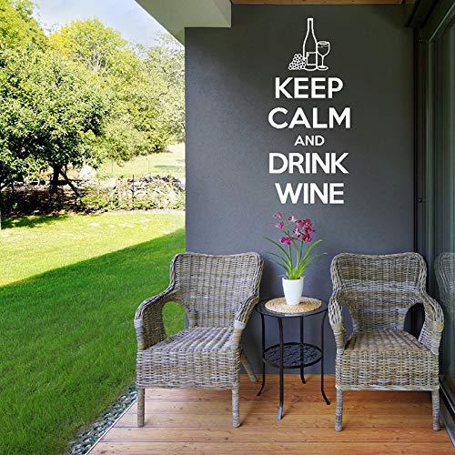 Behalten Sie Ruhe und Trinken Sie Wein Zitate Wandaufkleber Abnehmbare Kunst Küche Wandtattoos Bar Design Dekoration Fenster Zeichen 25X57CM