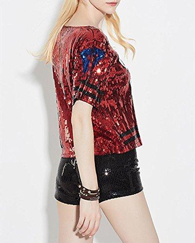 Damen T-Shirts Pailletten Loose Kurze Oberteile Tops Rot