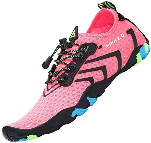 SAGUARO Badeschuhe Damen Schnelltrocknend Wasserschuhe Schwimmschuhe Neopren Slip On Strandschuhe Aquaschuhe Barfuss Schuhe,Stil 1: Pink 41 EU