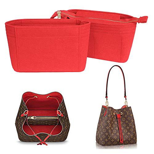 Yoillione Bag in Bag Handtaschen Organizer Rot, Klein Taschenorganizer Filz Organizer Tasche, Innentaschen für Handtaschen Einsatz, Taschen Organisator Reißverschluss für lv Noe Neonoe Organizer