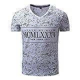 Legogo Herren Baumwolle Brief V-Ausschnitt Leopard Printed Kurzarm T-Shirt(XXL,Weiß)