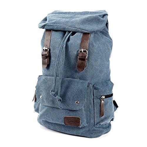 Retro Canvas Rucksack Tasche Schultertasche Sport Messenger Bag Damen Herren blau blau