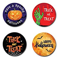 24 x Halloween Round Stickers for Party Bags, Trick or Treating or Sweet Cones - Pumpkin, Zombie Hand, Bats and Spiders Web