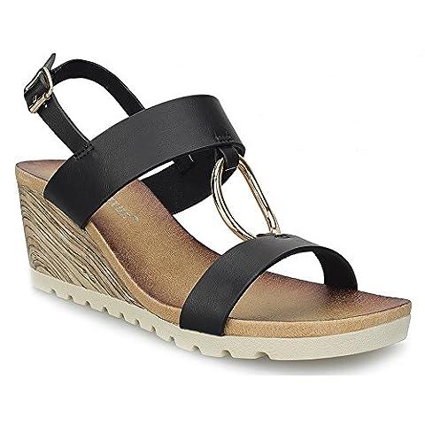 MaxMuxun Ankle Strap Heels Golden Ring Peep Toe Black Wedge Summer Sandals Size 5 UK/38 EU