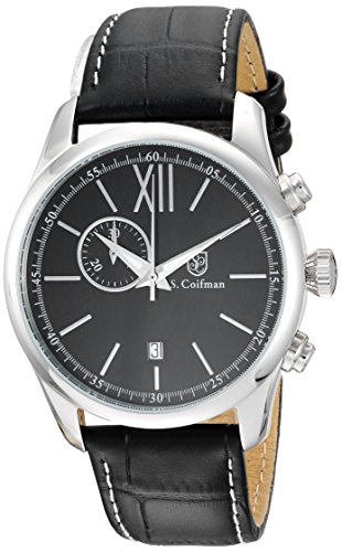 S. Coifman Men's 'Heritage' Quartz Stainless Steel and Leather Casual Watch, Color:Black (Model: SC0370)