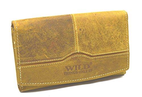 Wasserbüffel Wild Leder Vintage Hand Made Damen Portemonnaie in 5 Farben (Tan) -