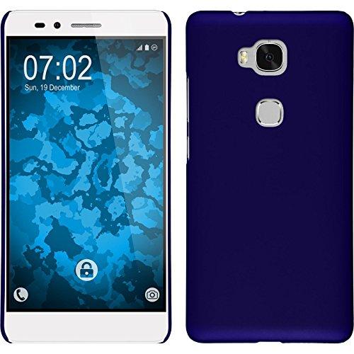 PhoneNatic Case kompatibel mit Huawei Honor 5X - Hülle blau gummiert Hard-case Cover 5 X Hard Case