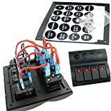 Rokoo Universal 4 Gang LED Boot Rocker Switch Panel Marine Boot Auto RV Dual USB Sockel Wasserdicht 12V Leistungsschalter