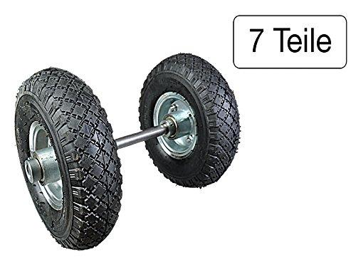 7-teiliges Set Achse 1000 mm Volleisen + 4 Stellringe verzinkt + 2 Räder 260 mm mit Kugellager