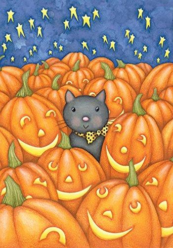 Toland Home Garden Peekaboo Katze 31,8 x 45,7 cm Dekorative süße Katze Herbst Halloween Kürbis Garten Flagge