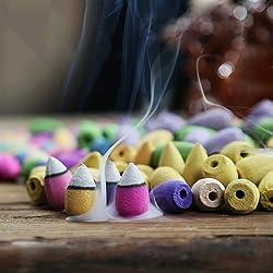 Caxmtu - Juego de 48conos de incienso natural para interior, aromaterapia, aroma a rosa, lavanda, jazmín o mezcla