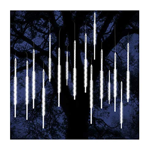 ohCome [New Version] Meteor Shower Rain Drop Lights 50cm 10 Spiral Tubes 540 LEDs Waterproof Icicle Snowfall String Lights for Wedding Christmas Xmas Halloween Garden Tree Home Decor